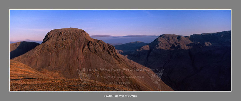Evening light bathes Great Gable and Great End.